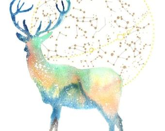 Deer Spirit Totem Animal ORIGINAL Watercolor 9X12