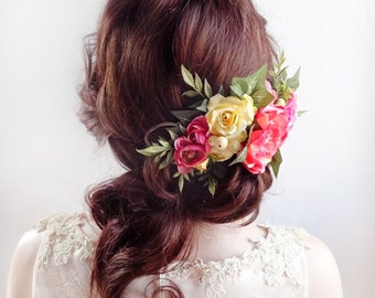 floral headpiece, floral head piece, coral wedding, flower headpiece, floral hair clip, bridal headpiece, floral crown, hot pink and yellow,