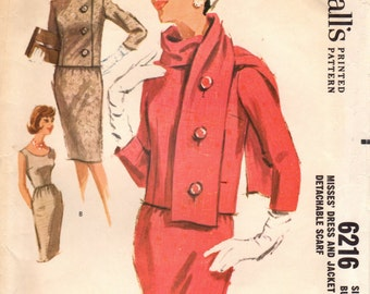 1960s McCall's 6216 Vintage Sewing Pattern Misses Slim Dress, Sheath, Cropped Jacket, Scarf Size 14 Bust 34