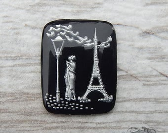 Vintage Glass Intaglio Cabochon - 28x22 mm Paris is for Lovers, Eiffel Tower, Reverse Painted in Black and Silver West German Stones  (1 pc)