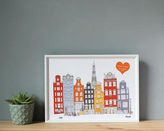 Amsterdam Personalised A3 Print - Wedding, Engagement, or Anniversary Gift