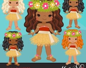 Luau Clipart, Luau Dancers, Hawaii tropical, hula girls, island birthday party, Cute straw skirt, summer graphics, african american, native