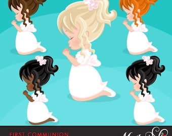First Communion Clipart for Girls. Communion characters, graphics, praying girls, holy. First Communion Graphics, religious illustrations