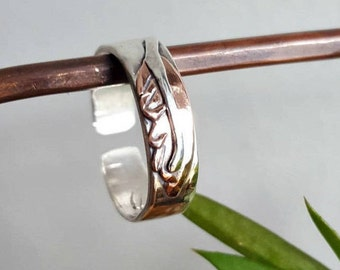 Feather Ring, Sterling Silver, Copper, Tribal Ring, Symbolic Jewelry, Hammered Mixed Metal, Open Band, Men's Pinky Ring, Women's Boho