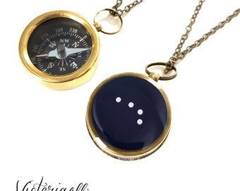 Aries Zodiac Constellation Necklace, Small Working Compass, Brass Chain, Pocket Compass, Bridal Party, March April Birthday Gift