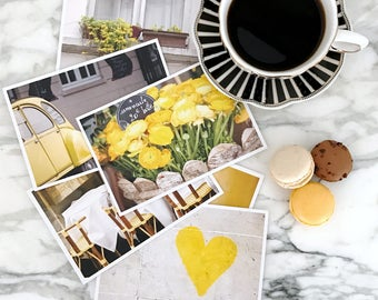 Paris Postcard Set, Yellow 4x6 Prints, Paris Gift for Her, Travel Photography