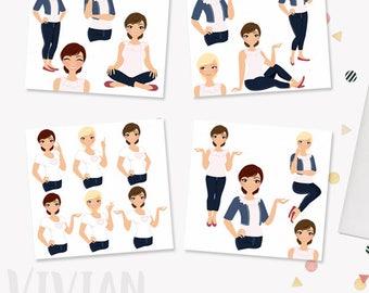 SAVE 55% Woman character clipart bundle pack, girl boss, digital blog clipart, lady boss, blonde, brunette, auburn hair (Vivian LB21)