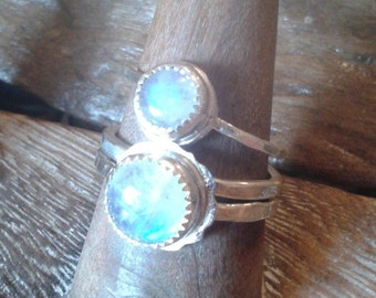 Moonstone Stacking Ring- June birthstone- March birthstone - Sterling silver and rainbow moonstone stackable stone ring