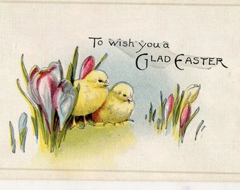 Easter Postcard - Vintage Postcard Easter Greeting, chicks and flowers