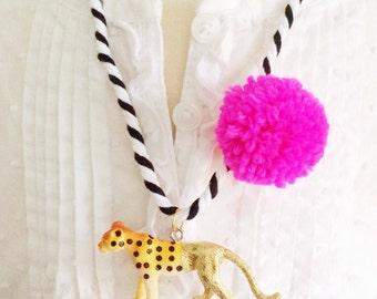 Cheetah Necklace Animal Necklace Pompom Necklace Stocking Stuffers for Kids Gold Animal Pendant Necklace Boho Style Jewelry for Kids
