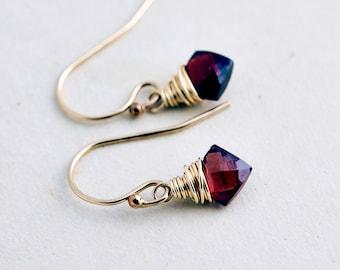 Garnet Earrings, Diamond Gems, Garnet Jewelry, Wire Wrapped, 14K gold filled, January Birthstone, Red, Burgundy, PoleStar, Gold Jewelry