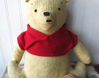 Vintage stuffed  handmade bear stuffed Winnie The Pooh animal stuffie plushie  Vintage kids room decor