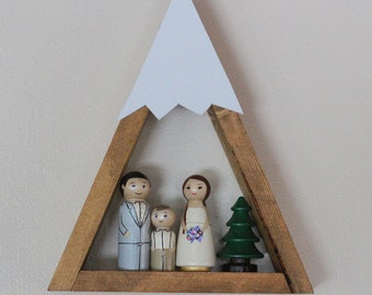 MINI Mountain Shelf Nursery Room Decor Snow Peak Mountain Forest Reclaimed Wood Triangle Geometric