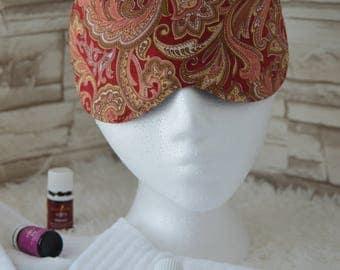 Rust & Paisleys ~ Travel Mask, Sleep Mask, Eye Mask ~ Quality Handcrafted and Light Blocking ~ READY To SHIP