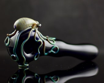Octopus Glass Pipe / Tobacco Pipe / Heady Glass / Thick Wall / American Made Glass / Pyrex / Dark Blue & Mega Mai Tai / Ready to Ship #470