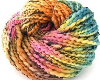 Handspun Yarn Soft BFL Wool Silk Yarn Hand Dyed Yarn Super Bulky Yarn Art Yarn 155 Yards Colorful - Spring Sorbet
