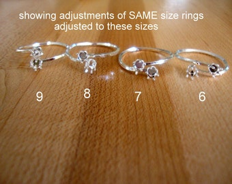Bypass prong ring blank for faceted stones - 925 sterling silver handmade - Easy Prong settings - Adjustable ring sizes