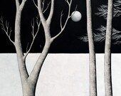 Midnight Walk - Archival 8x8 Art Print - Modern Landscape Painting - Night Forest - by Natasha Newton