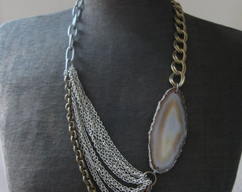Sway No. 4 - Stone and Chain Statement Necklace - Mixed Metals and Agate