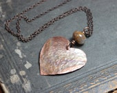 Copper Heart Necklace Hammered Antiqued Copper Necklace Rustic Jewelry