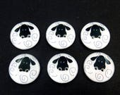 """6 Sheep Buttons. Sheep Novelty Buttons.  Craft Buttons, Clothing Buttons.  Decorative Buttons. 3/4"""" or 20 mm"""