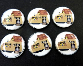 Old Woman Who Lived In a Shoe Buttons. Handmade Buttons.  Nursery Rhyme Buttons for Sewing.