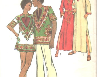Simplicity 5043 1970s MENS Caftan Dashiki Shirt Pattern Adult Vintage Sewing Pattern Size Extra Large  Chest 46 48