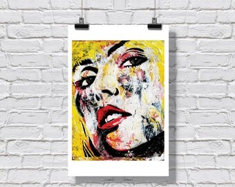 "12 x 18"" - Debbie Harry art print - Debbie Harry poster  - Blondie art print - Blondie poster - red and yellow - punk rock - pop art print"