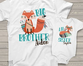 Big brother lil sister or any brother sister combination matching fox sibling shirt set  MSS-001
