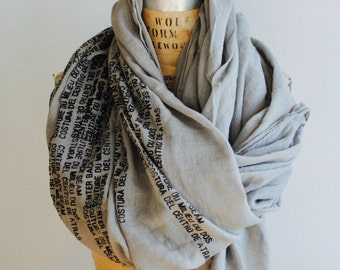 Text Scarves , gray cotton scarf printed  014