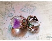 RESERVED 'EnChAnTeD' 3d magical flower fairy orb enameled adjustable ring by WiLd PeArLy