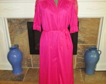 Rose Pink Vintage Long Nightgown Robe set Small Beautiful Vintage lingerie