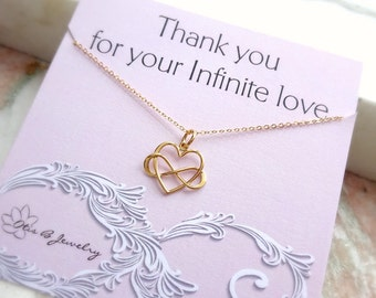 Infinity Heart necklace, Infinite Love, Valentine's Day, Sisters, friendship necklace, wedding gift for mom, Mother of groom, charm necklace