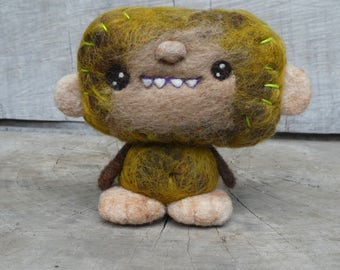 OOAK Needle felted Bigfoot Monster Toy Shelf Sitter Ready to Ship