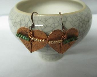 Copper Hearts Earrings. Heart Beaded Earrings. Ladybug Earrings. Green, Blue, Chartreuse Beaded Earrings. 5 pairs.