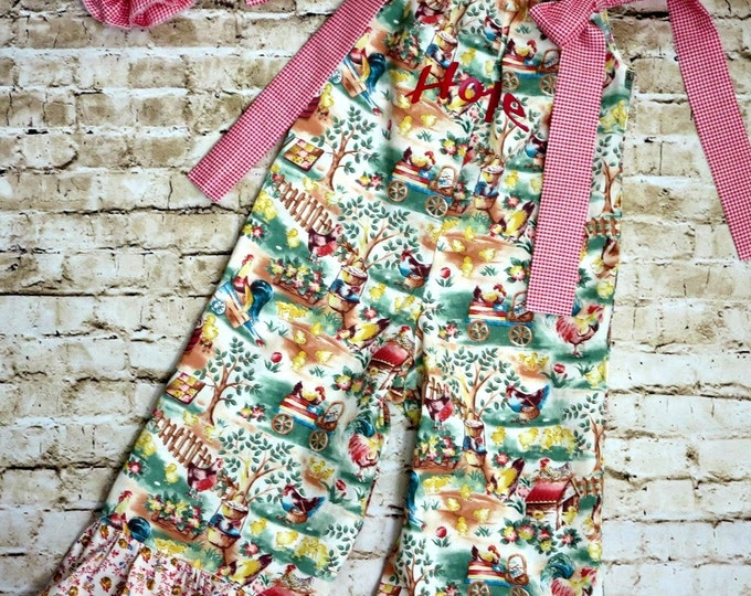 Barnyard Party - Farm Birthday Party - Barnyard Birthday - Girls Ruffle Pants Outfit - Ruffle Pants - Toddler Girl Outfit - 3...