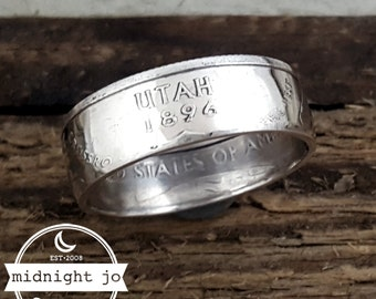 Utah Coin Ring 90% Silver State Quarter Double Sided MR0702-TSSUT