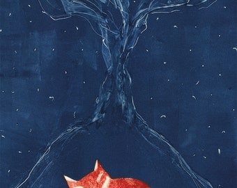 Night time fox art poster