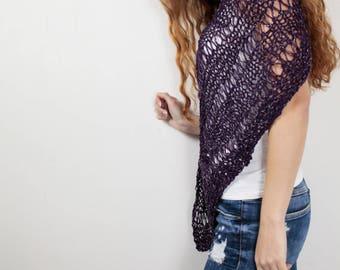 Hand knit little cotton poncho knit scarf knit shrug purple woman sweater