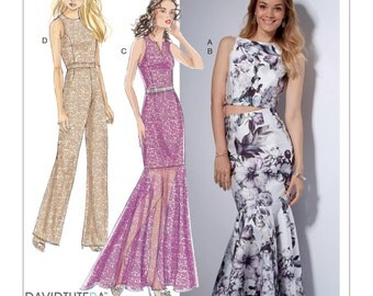 Misses' Princess Seam Top, Trumpet Dress, Skirt and Jumpsuit- McCall's M7540 Sewing Pattern - Sizes: 6 -8 -10 -12 -14 or 14 -16 -18 -20 -22