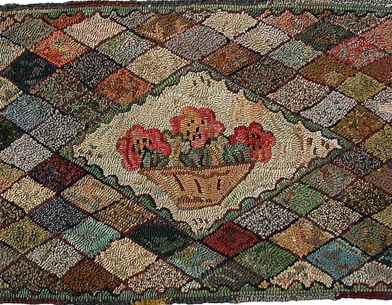 Compote With Camellias rug hooking pattern