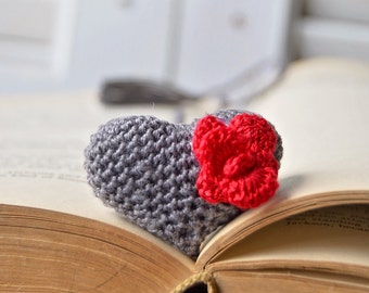 Handmade Bookmark, Crocheted Bookmark, Gray Heart Bookmark, Book Lover Gift, Heart Shaped, Valentines Gift, 3d Fluffy Heart, Puffy Heart
