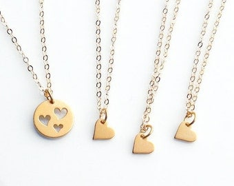Gold Necklace Set, Mother 3 Daughters, Set of 4 Necklaces, Heart Necklace Set, Gold Heart Cut out, Heart Necklaces, Mommy and Me Jewelry