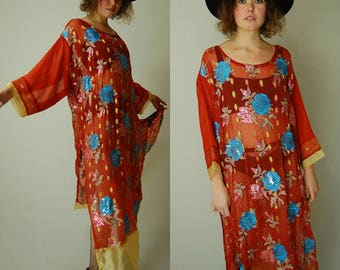 Sheer Bohemian Kaftan Vintage Rust Sheer Embroidered Sequin Floral Draped Caftan Dress (s m l)