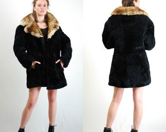 Sheepskin Coat Vintage Black + Brown Cozy Plush Warm Shearling Sheepskin Winter Coat (s m l)