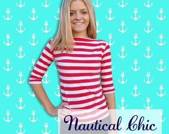 Classy Stripe-Designer Womens Classic Red Boatneck Top