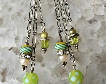 Bali Bead Earrings, Charm Earrings, Long Earrings, Green Dangle Earrings, Chain Earrings, Silver Earrings, Boho Earrings, Boho Jewelry,