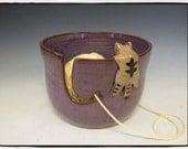 Custom Order-Yarn Bowl with Cute Tabby Cat in Purple by misunrie