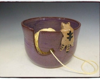 Yarn Bowl with Cute Tabby Cat in Purple by misunrie