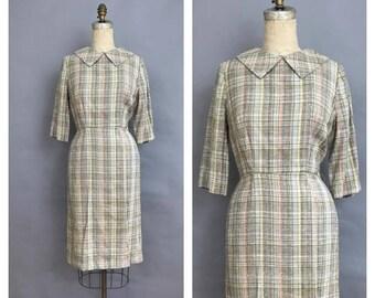 1950s woven plaid dress